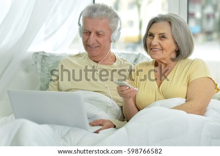 Elderly couple with a laptop #598766582