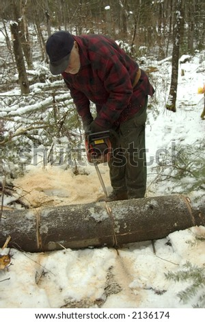 Elderly cutting logs with a chain saw by a snowy day