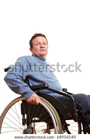 Elderly disabled man sitting in a wheelchair