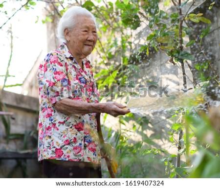 Elderly Grandma or Grandma at healthy watering a flower in home garden