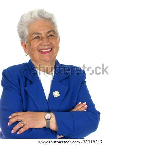 Elderly happy woman  over white background