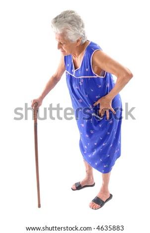 Elderly holding a cane on white background.