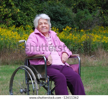 Elderly lady in a wheelchair