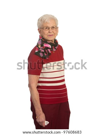 Elderly Lady Standing. Shot against a white background.