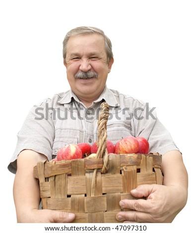 Elderly man, harvesting a apple - isolated over white