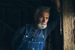 Elderly man in denim dungarees standing staring through a window in an old rustic wooden house or barn with a thoughtful expression