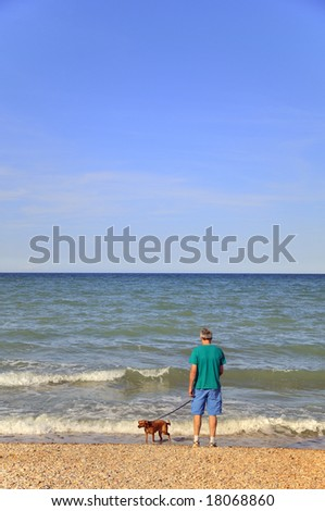 Elderly man is walking the dog at the beach