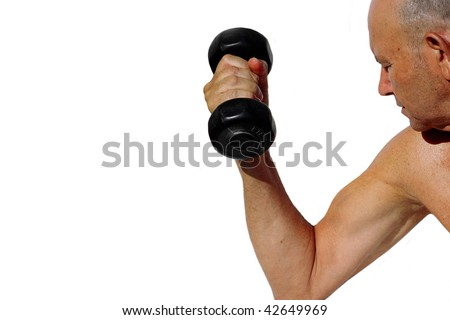 elderly man lifting weights on a white background