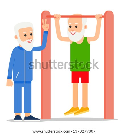 Elderly man pulls up exercising. One senior doing pull-ups, another man stands beside and controls exercises. Physical exercises, training, workout, sport, healthy lifestyle. Flat style illustration.