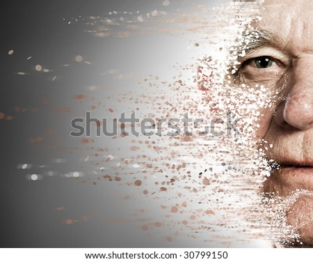 Elderly man's face falling apart. Aging concept