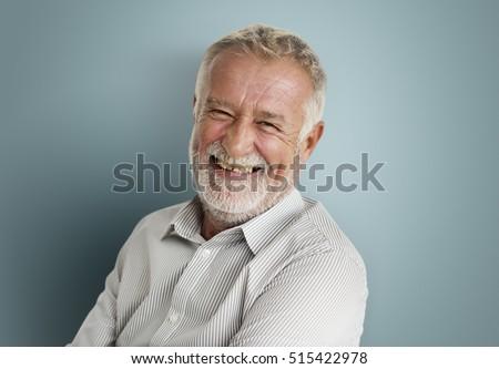 Elderly Man Smiling Face Expression Concept #515422978