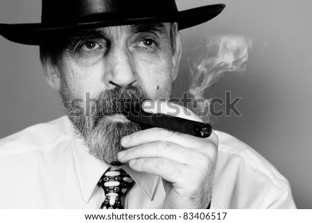 elderly man with cigar