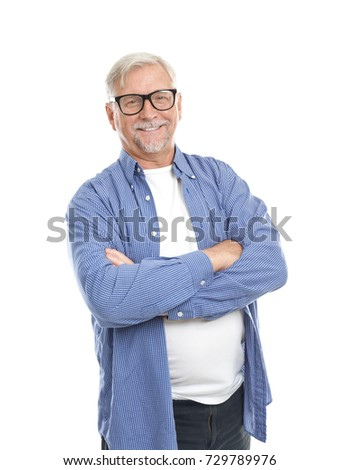 elderly man with glasses on...
