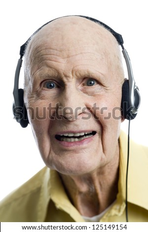 Elderly man with headphones
