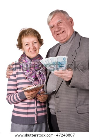 Elderly married couple with money in hands. Isolated on a White Background