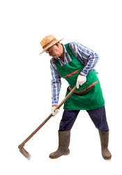Elderly old Asian man working with a hoe isolated on white background, clipping path