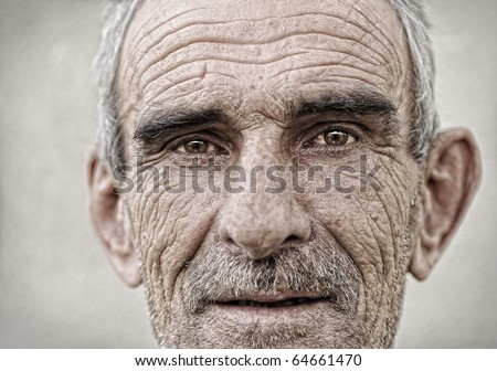 Elderly, old, mature man close up  portrait