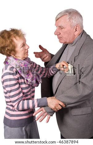 Elderly pair. Wife takes from husband of money. It is isolated on white