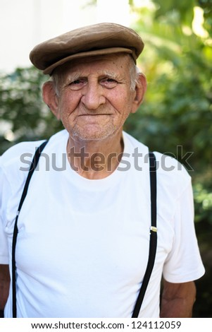 Elderly 80 plus year old man outdoor portrait.
