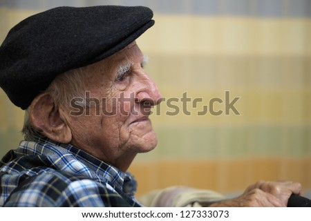 Elderly 80 plus year old man portrait.