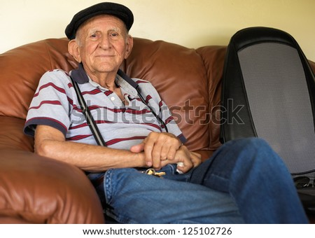 Elderly 80 plus year old man portrait in a home setting.