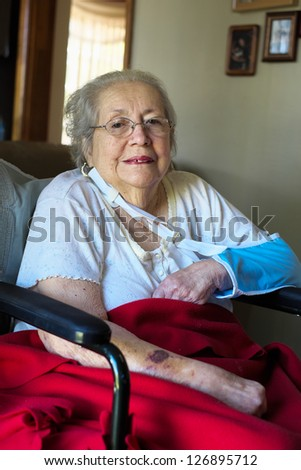 Elderly 80 plus year old woman portrait in a home setting.