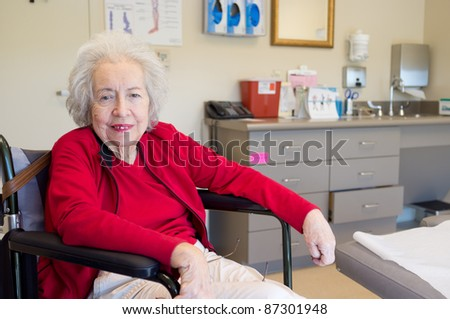 Elderly 80 plus year old woman with Alzheimer in a clinical setting.