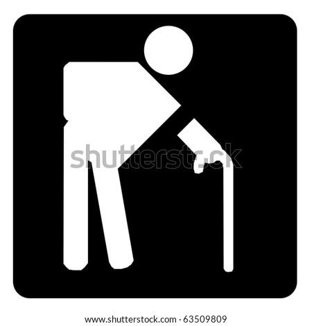 Elderly sign on black