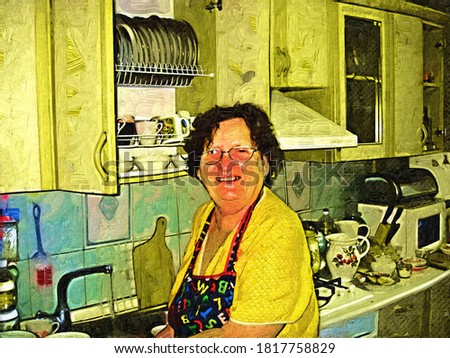 Elderly smiling woman in the kitchen in the style of Oil painting Fauvism