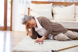 Elderly stroke, Asian older woman suffer from stroke and powerful headache or brain attack