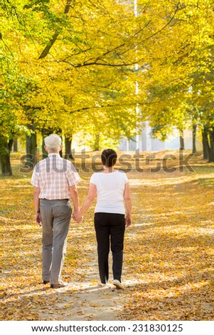 Elderly walking couple holding theirs hands