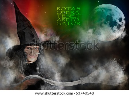 Elderly Witch With Black Hat Casting Spells, Full Moon And Flying Broomstick