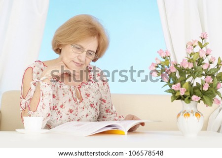Elderly woman is resting at home after heavy everyday