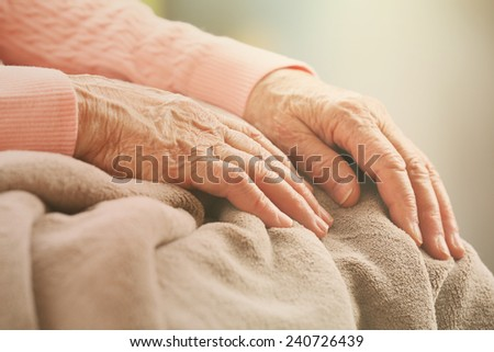 Elderly woman\'s hands, care for the elderly concept