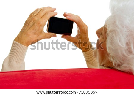 elderly woman with smart phone