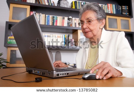 eldery woman on a laptop at home reading the screen - stock photo