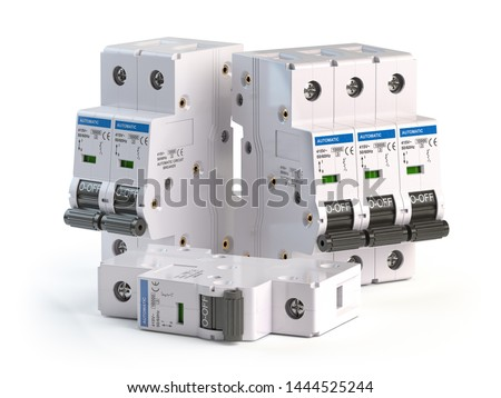 Elecric automatic circuit breaker isolated on white background. 3d illustration