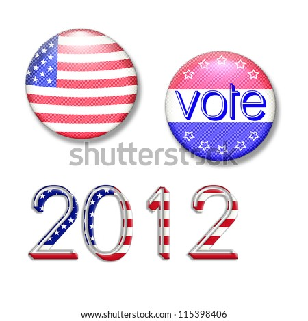 election and voting buttons illustration - stock photo