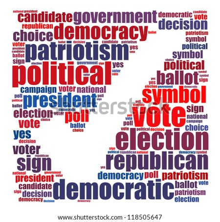 Election info-text graphics and arrangement concept (word cloud) on white background