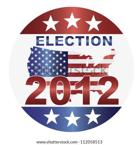 Election 2012 with USA Flag in Map Silhouette Raster Vector Illustration