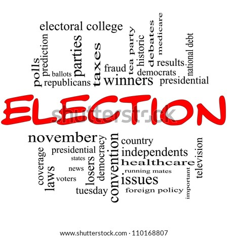 Election Word Cloud Concept in red and black with great terms such as voters, presidential, convention, republicans, democrats, winners, issues and more