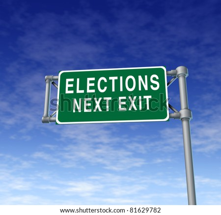 Elections and voting traffic sign symbol representing the democratic right to vote in an electoral campaign for president or other elected position of power in a free democracy.