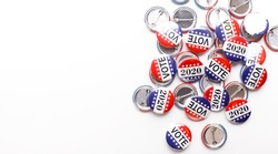 Elections in USA 2020. Button badges with i voted today text isolated on white background, panorama