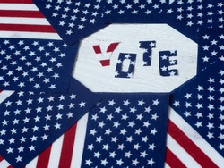 Electoral vote in the United States. Political elections. Suffrage of Americans. USA flags and electoral day.