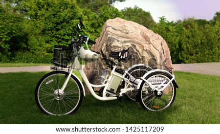 Electric bicycle on the green grass with stone background on sunny summer day. Shot from the side. A lot of natural lighting. The view of the e motor, power battery gear, hamlet and gloves. #1425117209