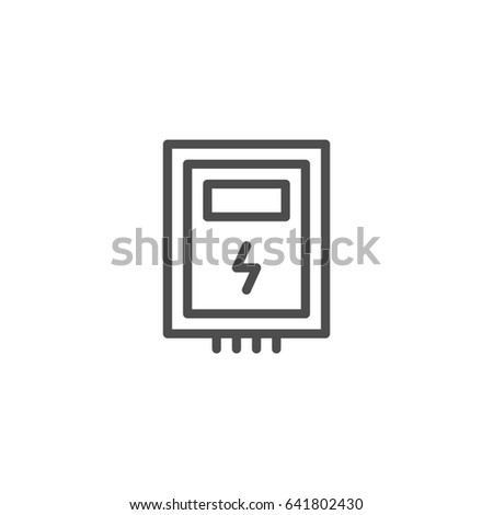 Electric box line icon isolated on white