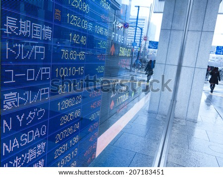 Electric bulletin board of investment information.