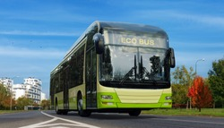 Electric bus. Green urban ecology concept of e-bus. Zero emission transport in city.
