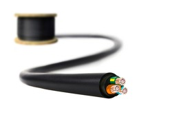 Electric cable on white background. Copper wire is the electric conductor of urban society.
