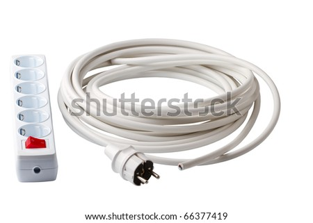 Electric cable plug and socket isolated on a white background